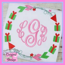 Gift Arrow Circle Embroidery Design