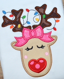 Girl Reindeer Face Applique