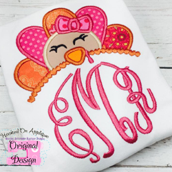 Girl Turkey Topper Applique