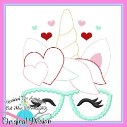 Heart Unicorn Glasses Bean Stitch Applique