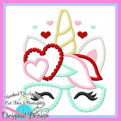 Heart Unicorn Glasses Applique