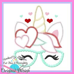#HOA1012 Heart Unicorn Glasses Zig Zag Applique