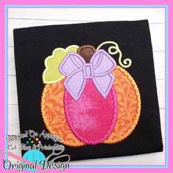 Hearts Bow Pumpkin Applique