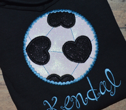 Heart Soccer Ball Applique
