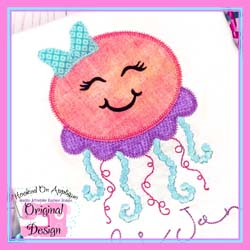 Jellyfish Girl Zig Zag Applique