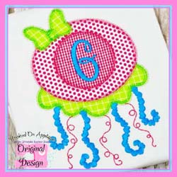 Jellyfish Girl 2 Zig Zag Applique