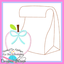 Lunch Bag Apple Bow Bean Applique