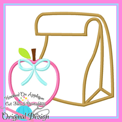 #HOA1093 Lunch Bag Apple Bow Applique