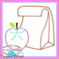 Lunch Bag Apple Bow Zig Zag Applique