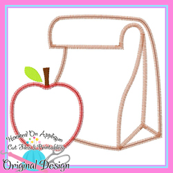 Lunch Bag Apple Zig Zag Applique