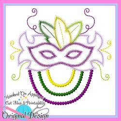 Mardi Gras Mask Zig Zag Applique