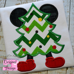 Mr Mouse Christmas Tree Applique