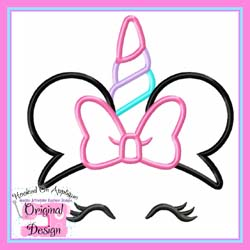 Miss Mouse Bow Unicorn Applique