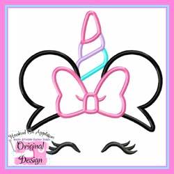 Miss Mouse Bow Unicorn Applique