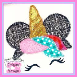 #HOA827 Miss Mouse Unicorn Zig Zag Applique