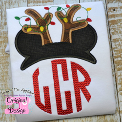 Mr Mouse Reindeer Topper Applique
