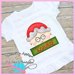Mrs Clause Peeking PNG Printable