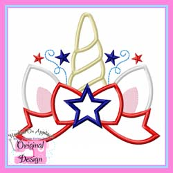 Patriotic Unicorn Topper Applique