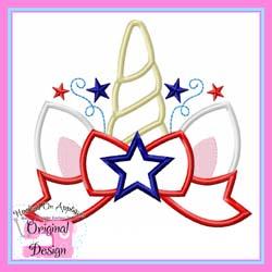 Patriotic Unicorn Topper Applique
