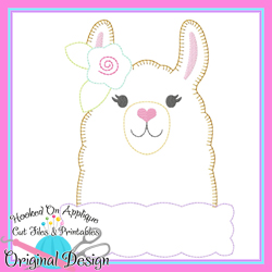 Peek Llama Girl Blanket Stitch Applique