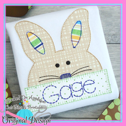 Peek Bunny Bean Stitch Applique