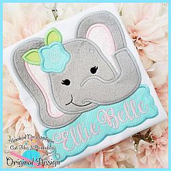 Peek Elephant Girl Applique