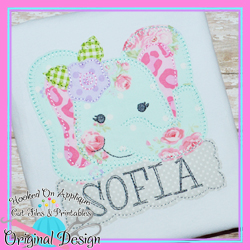 Peek Elephant Girl Blanket Stitch Applique