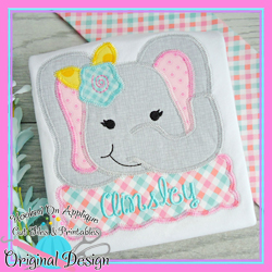 Peek Elephant Girl Zig Zag Applique