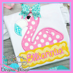 #HOA1056 Peek Flamingo Girl Applique