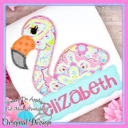 Peek FLamingo Girl Zig Zag Applique