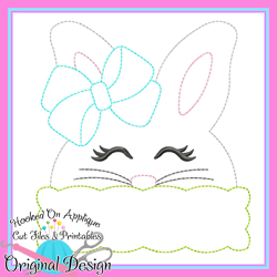 Peek Girl Bunny Bean Stitch Applique