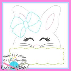 Peek Girl Bunny Bean Stitch Applique
