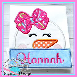 Peeking Girl Snowman Applique