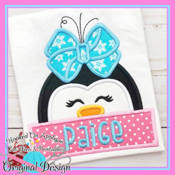 Peeking Girl Penguin Applique