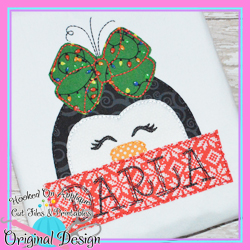 Peeking Girl Penguin Bean Stitch Applique