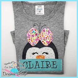 Peeking Girl Penguin Zig Zag Applique