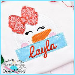 Peeking Girl Snowman Zig Zag Applique
