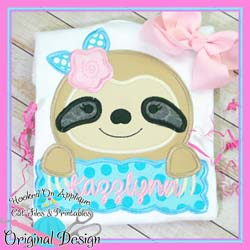 Peek Sloth Girl Applique