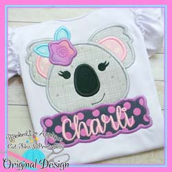 #HOA1047 Peek Koala Girl Applique