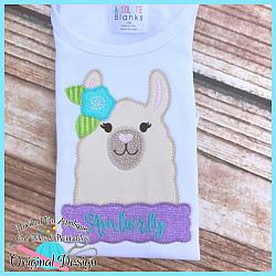 Peek Llama Girl Zig Zag Applique