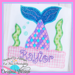 #HOA1066 Peek Mermaid Zig Zag Applique