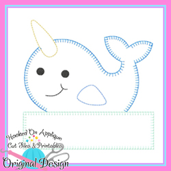 Peek Narwhal Blanket Stitch Applique
