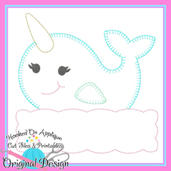 Peek Narwhal Girl Blanket Stitch Applique