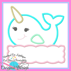 Peek Narwhal Girl Applique