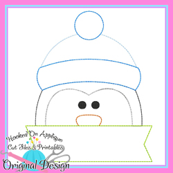 Peeking Penguin Bean Stitch Applique
