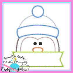 Peeking Penguin Zig Zag Applique