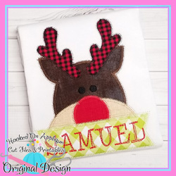 Peeking Rudolph Zig Zag Applique