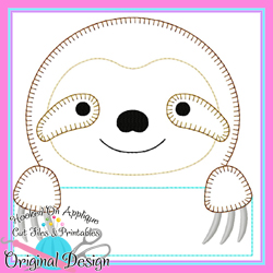 Peek Sloth Blanket Stitch Applique