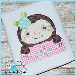 Peek Sloth Girl Blanket Stitch Applique