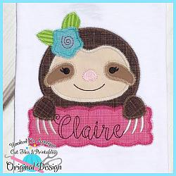 Peek Sloth Girl Zig Zag Applique